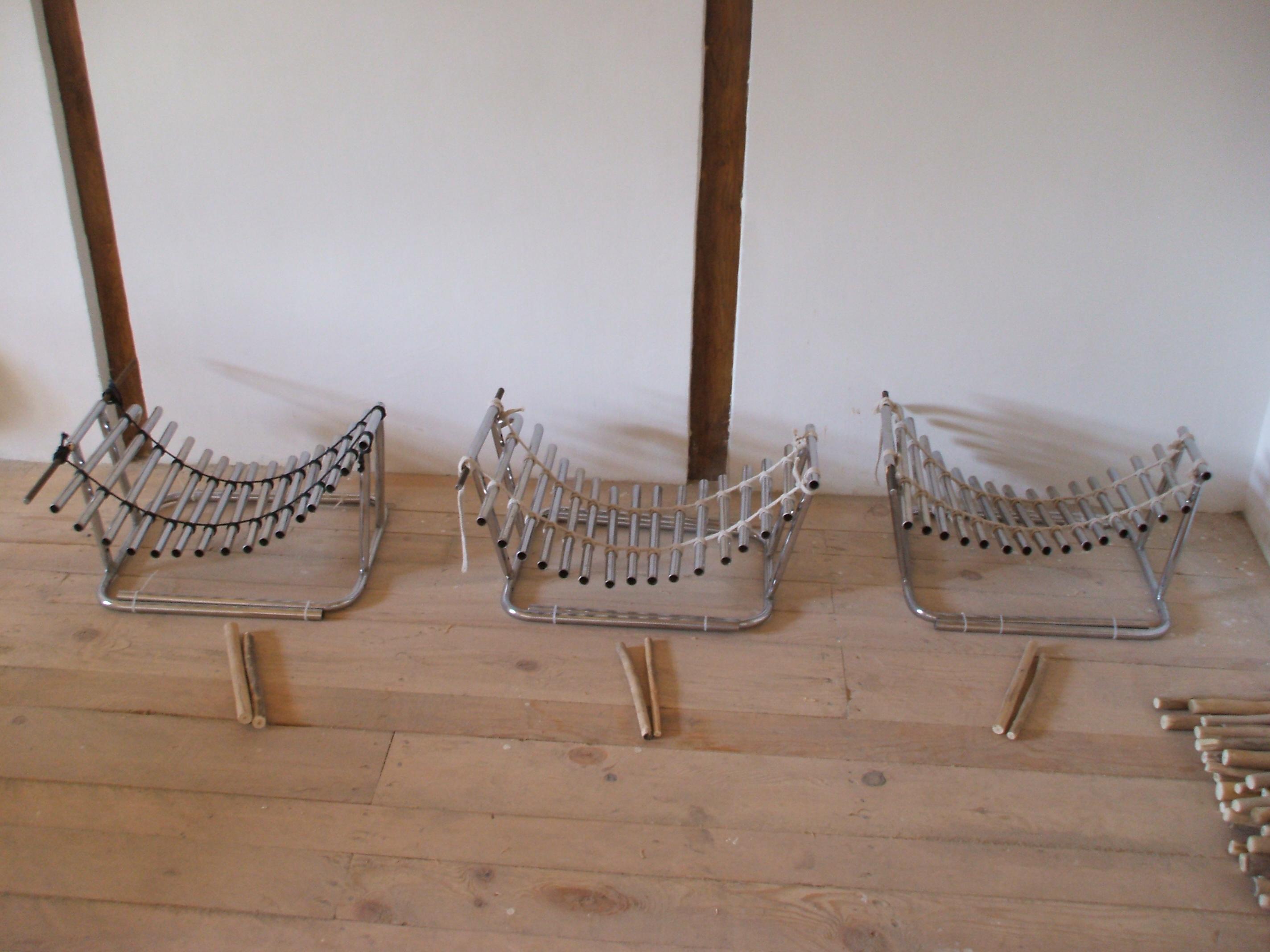3 metallophones made from broken chair legs