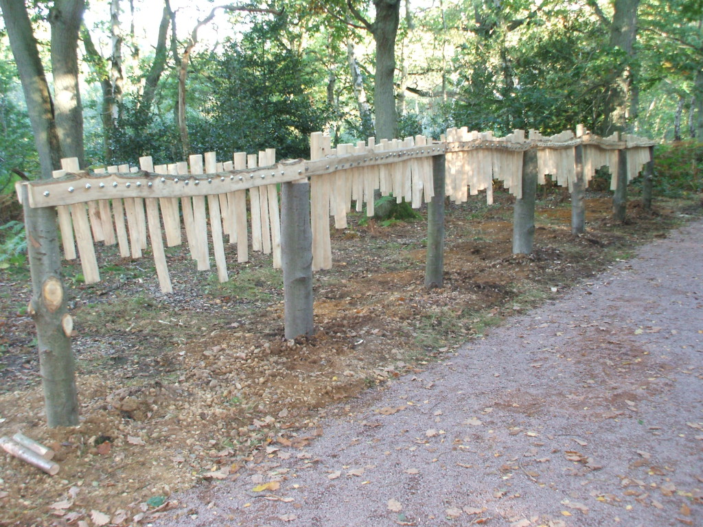 Xylofence at Oxhey Woods Sculpture Trail